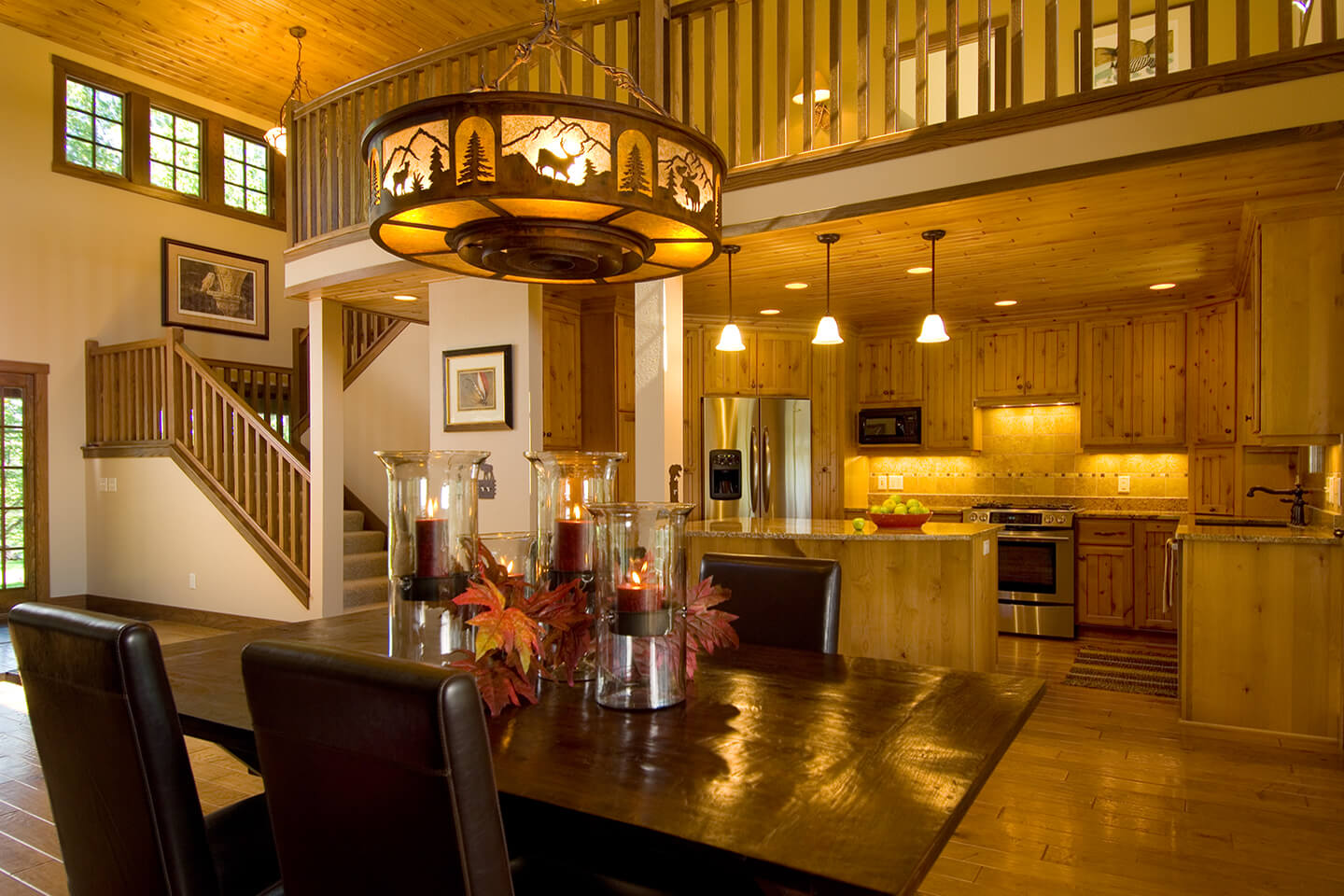 Dining room with western and rustic chandelier