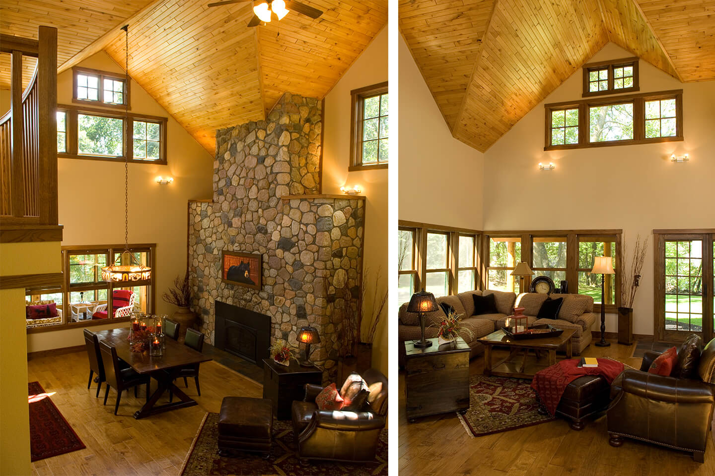 Dining room with river rock fireplace, and living room