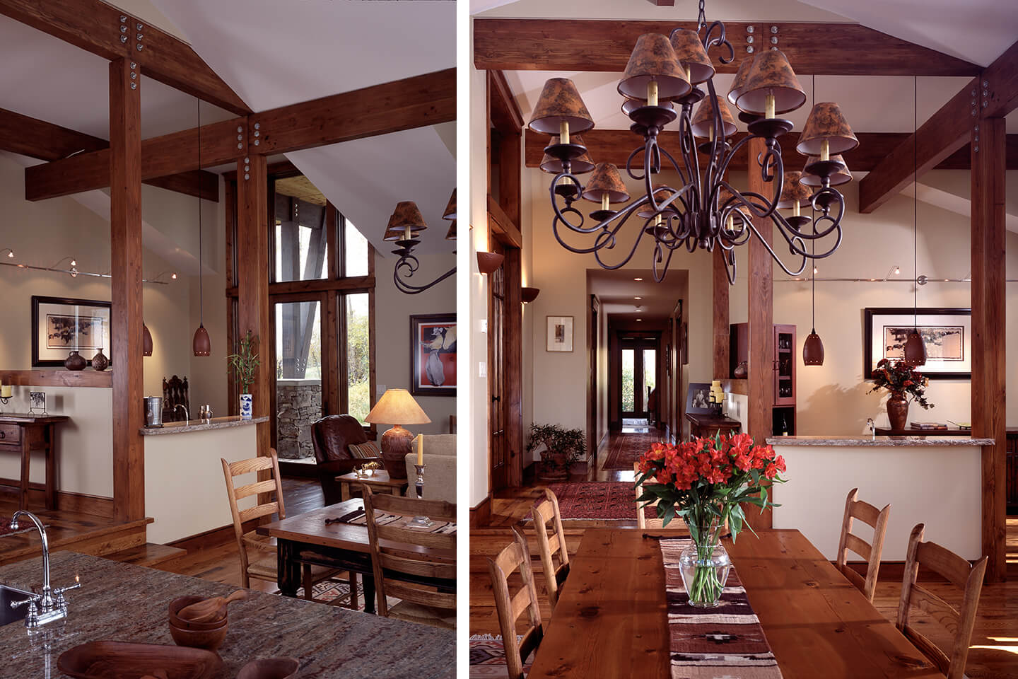 Interior view and wrought iron rustic chandelier