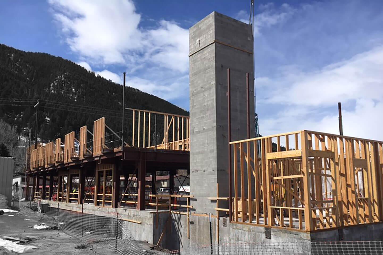 Frame being built, and elevator shaft