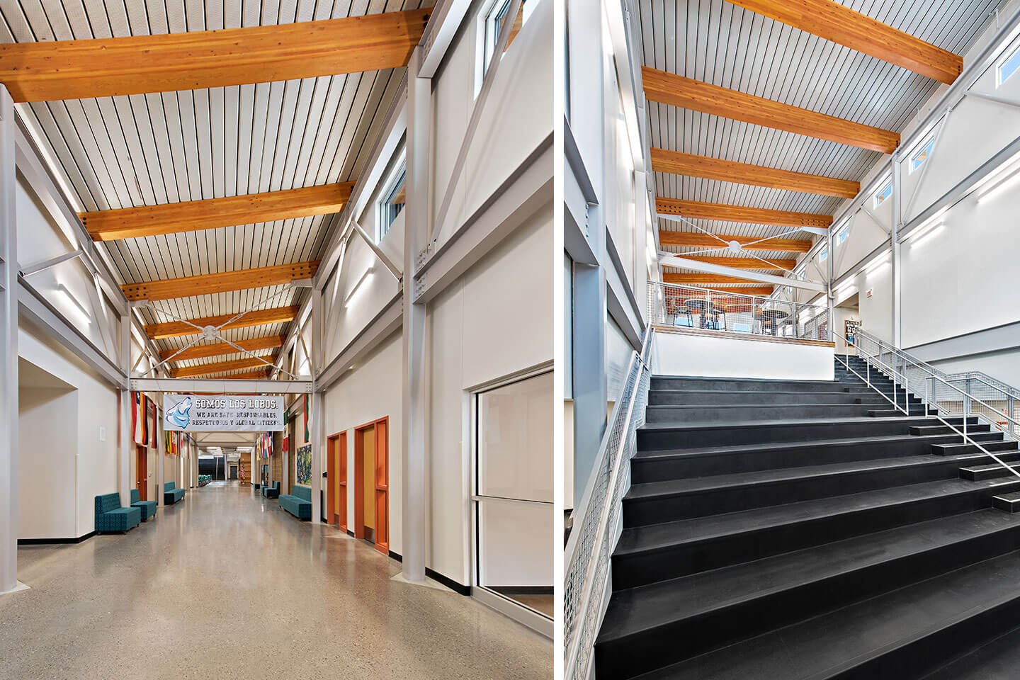School hallway and staircase-bleachers