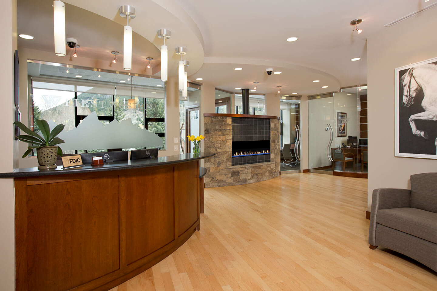 Bank lobby with electric fireplace