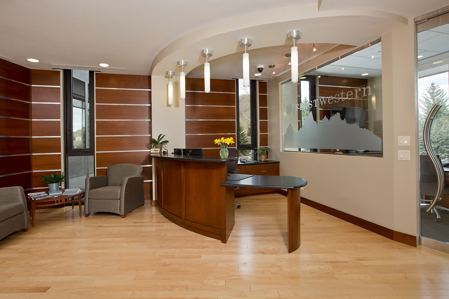 Reception with etched glass window