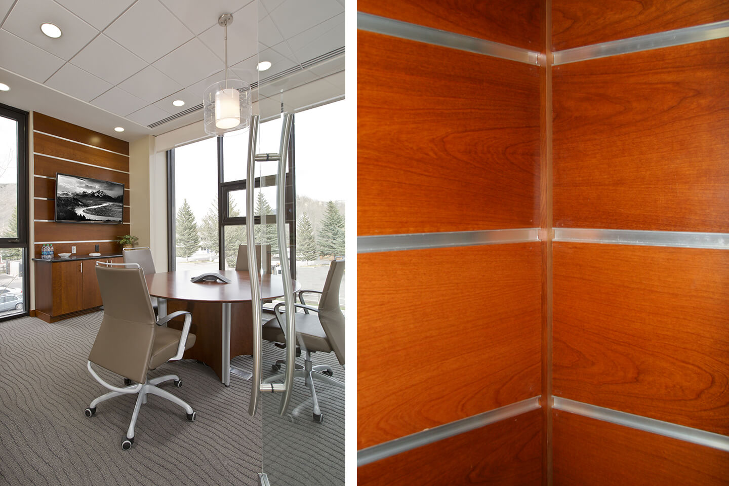 Meeting area and engineered wood paneling detail