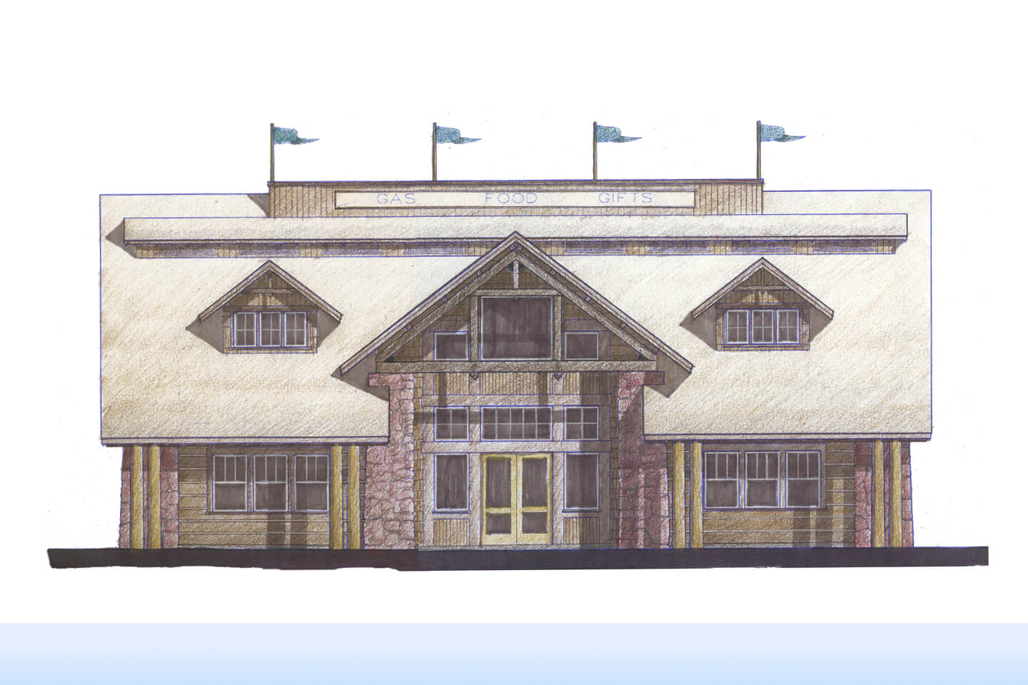 Color hand rendering of the north elevation