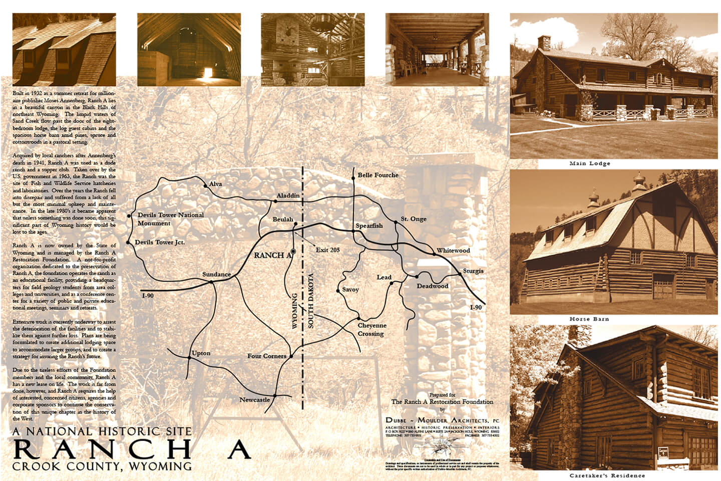 Presentation board with details on Ranch A