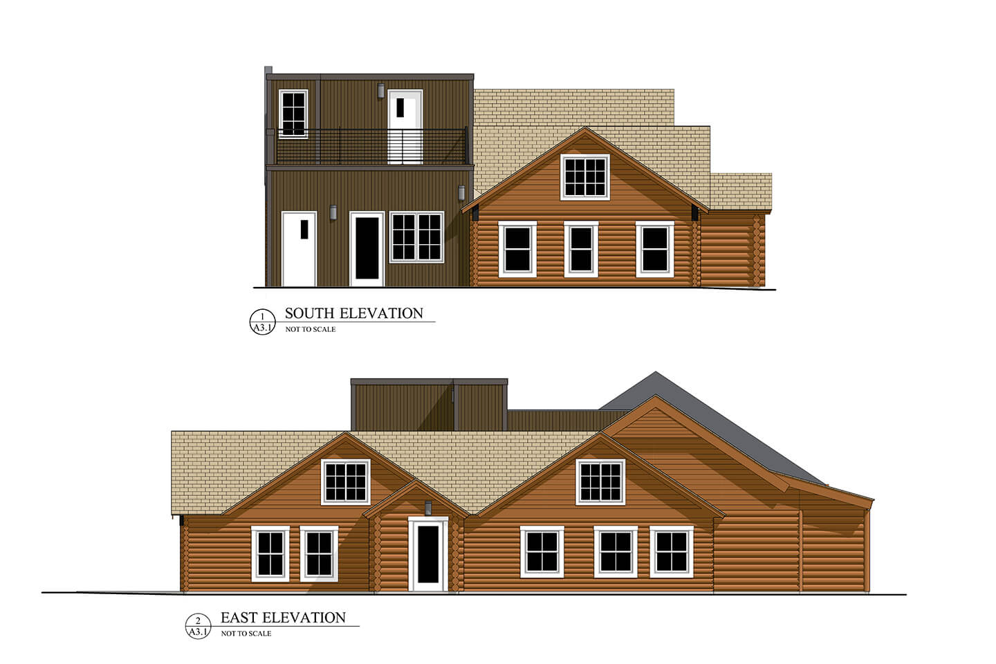 2D rendering of the Coe Cabin elevations