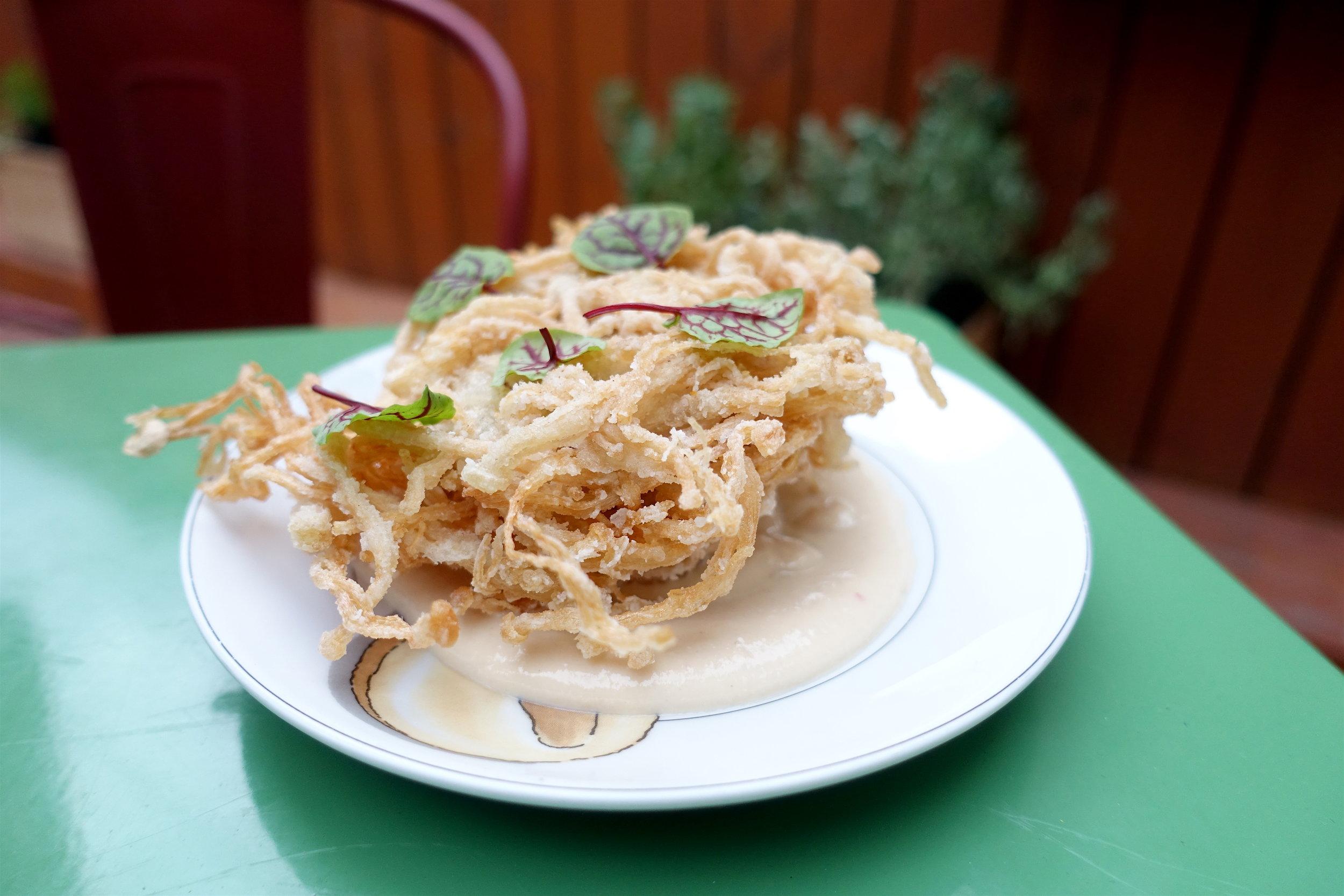 Cheunh Het Pouk - blooming mushroom, tofu sauce, tamarind salt.JPG