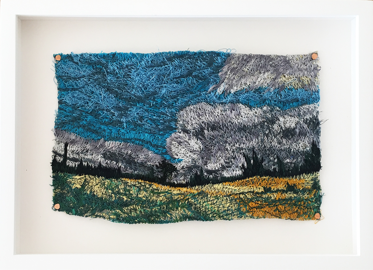 Liz Pead,  Pasohlavky, Czech Republic,  thread on 83 stainless steel mesh, 5 x 8 inches framed