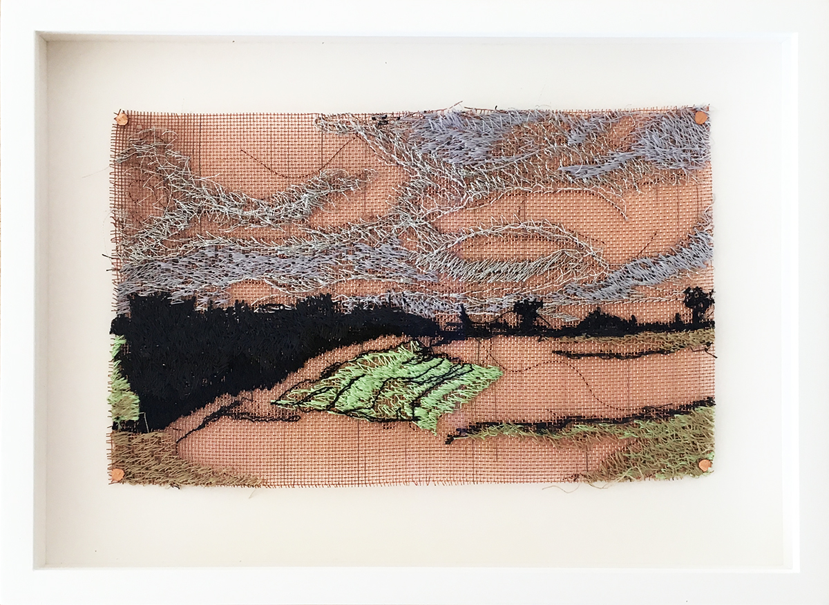Liz Pead,  Dornoch, The Mound, Scotland,  thread on 24 copper mesh, 5 x 8 inches framed