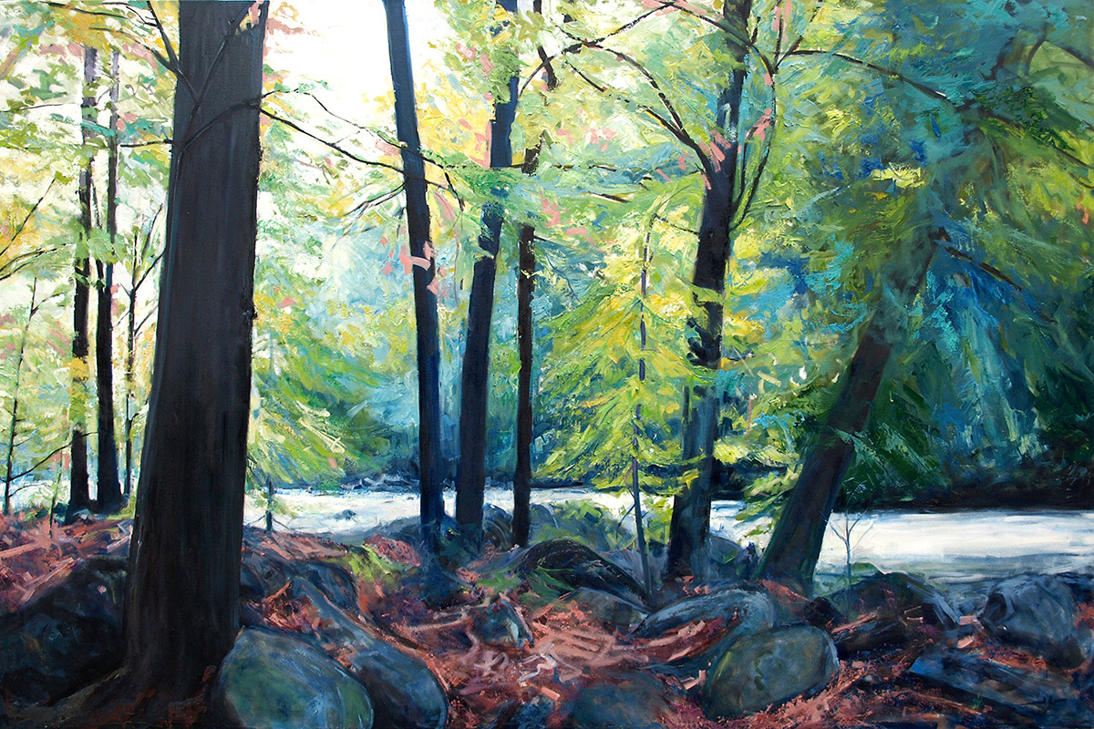 James Goodliff,  Gull River 2 , 2019, oil on canvas, 48 x 76 inches