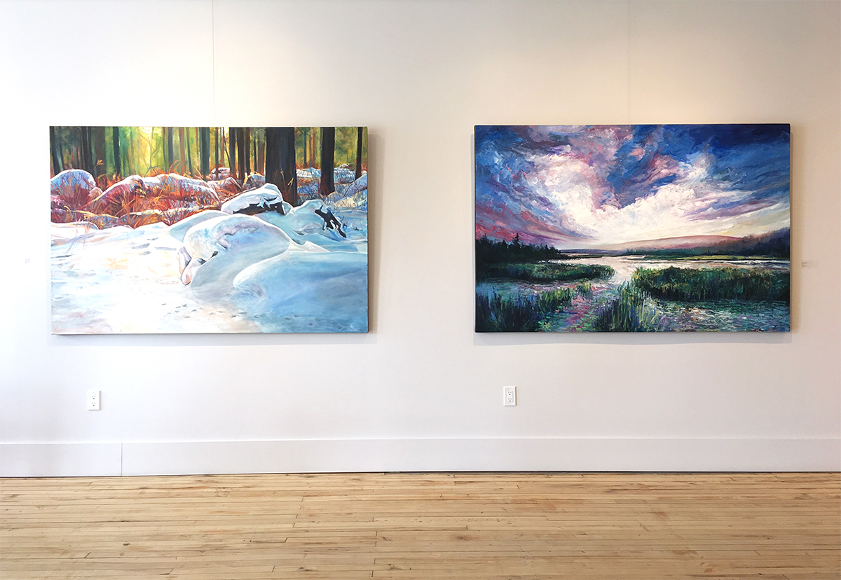 James Goodliff,  Quietude  install;  Blanket of Snow,  2019, oil on canvas, 48 x 72 inches (left) and  Algonquin Sky,  2019, oil on canvas, 48 x 72 inches (right).