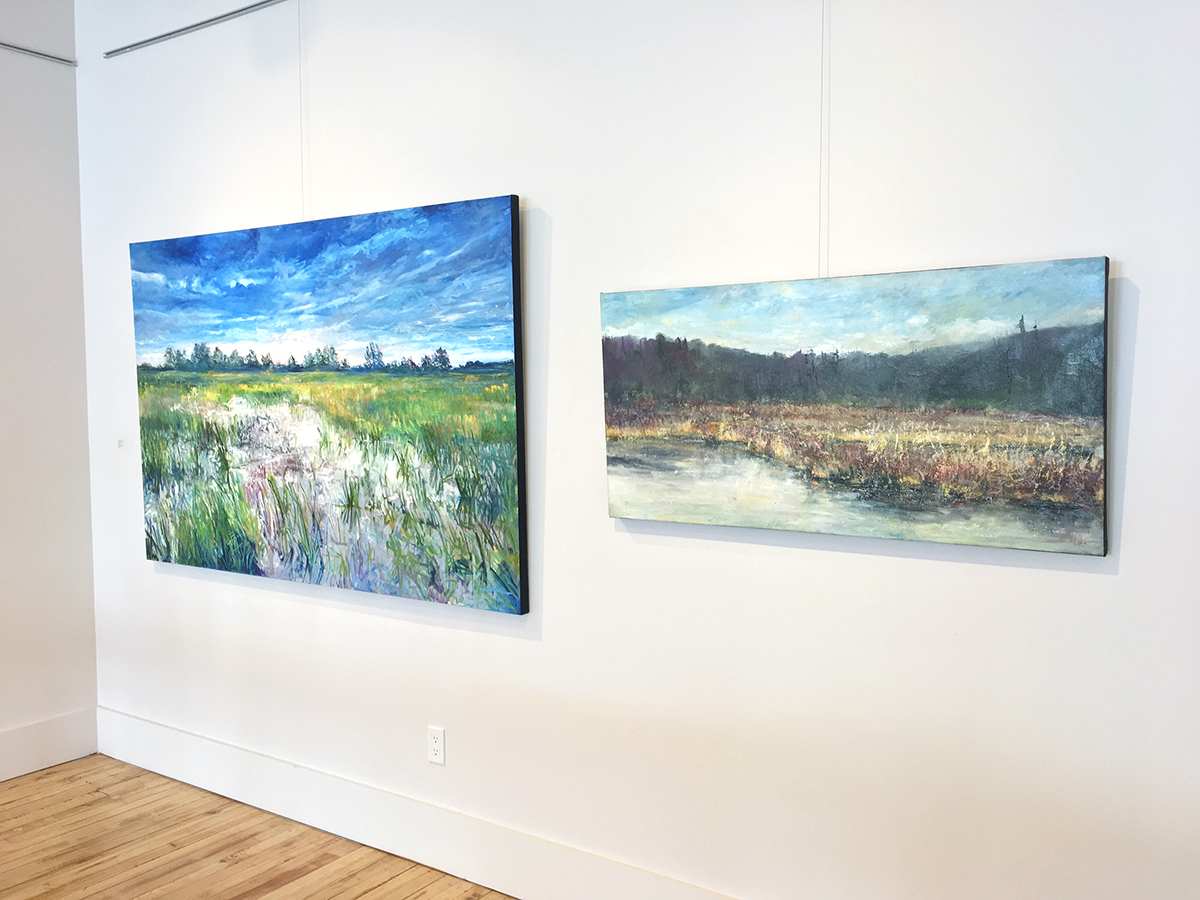 James Goodliff,  Quietude  install;  Morning Light,  2019, oil on canvas, 48 x 72 inches (left) and  Autumn Marsh,  oil on canvas, 24 x 28 inches (right).