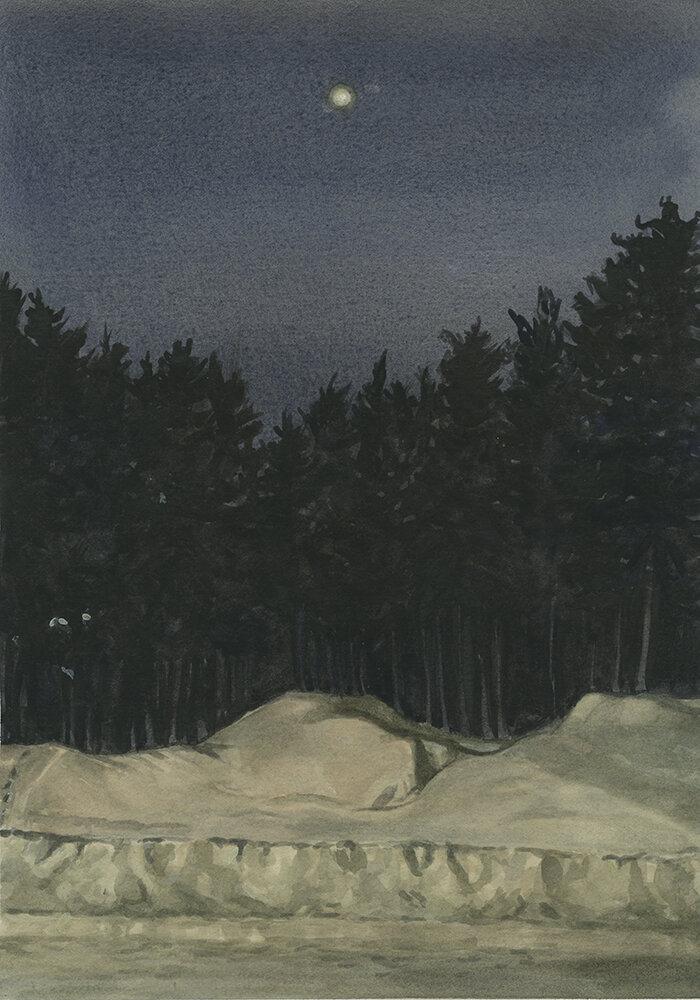 Jamie Bradbury,  Nemaska Full Moon,  2018, watercolour on Arches paper, 10 x 14 inches