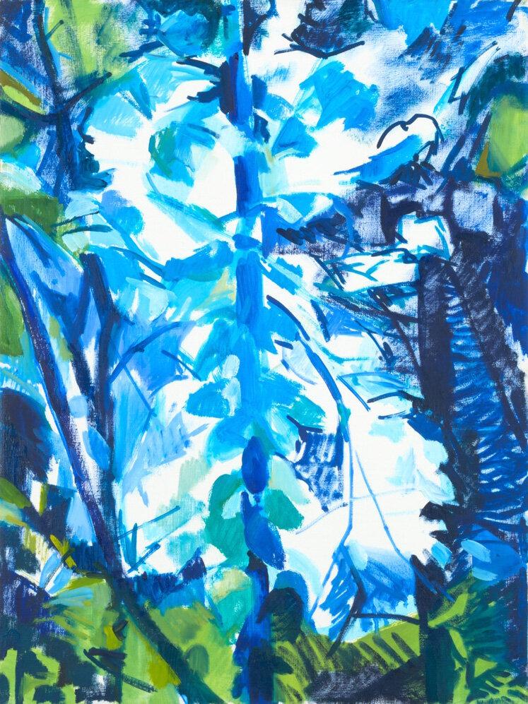 Monica Tap,  Blue Sun Tree,  2016, oil on linen, 24 x 18 inches