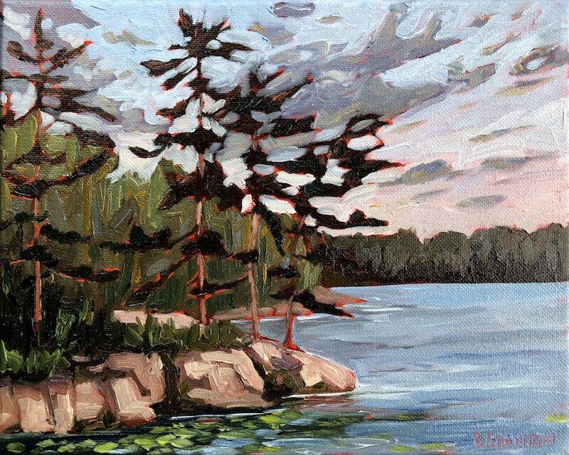 Brigitte Granton,  Evening on Bear Lake,  2019, oil on canvas, 8 x 10 inches, 10 x 12 inches