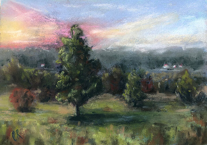 Carrie Ruddy,  From the Hill,  2019, soft pastel on board, 4.5 x 6.75 inches, 9.5 x 11.5 inches framed