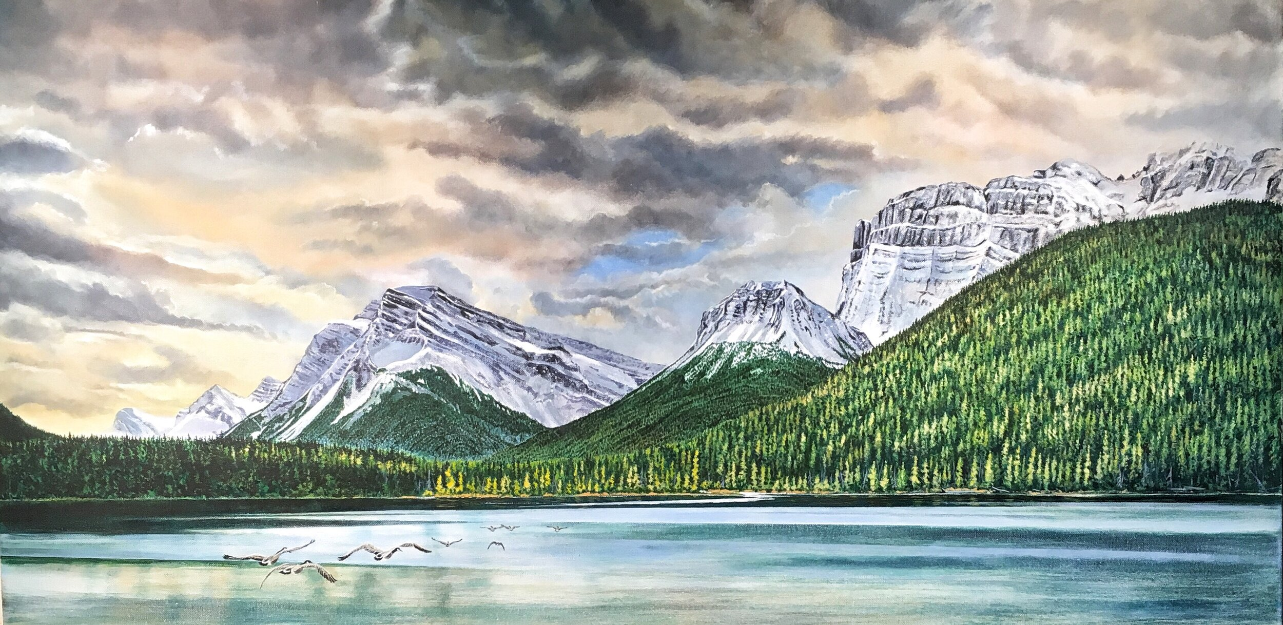 Chuck Burns,  Stopover - Waterfowl Lake,  2018, acrylic on canvas, 24 x 48 inches framed