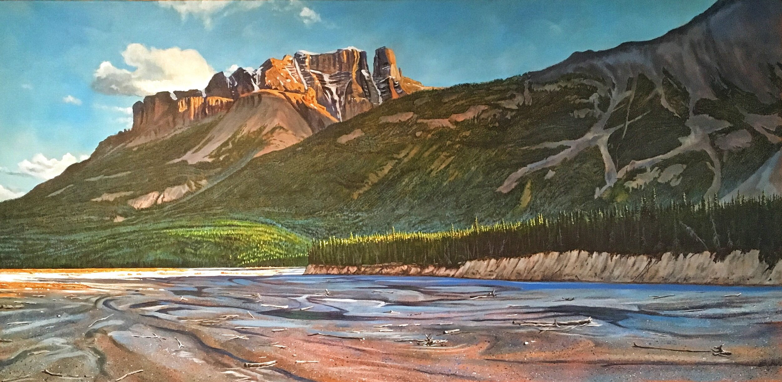 Chuck Burns,  River Flats,  2018, acrylic on canvas, 24 x 48 inches framed