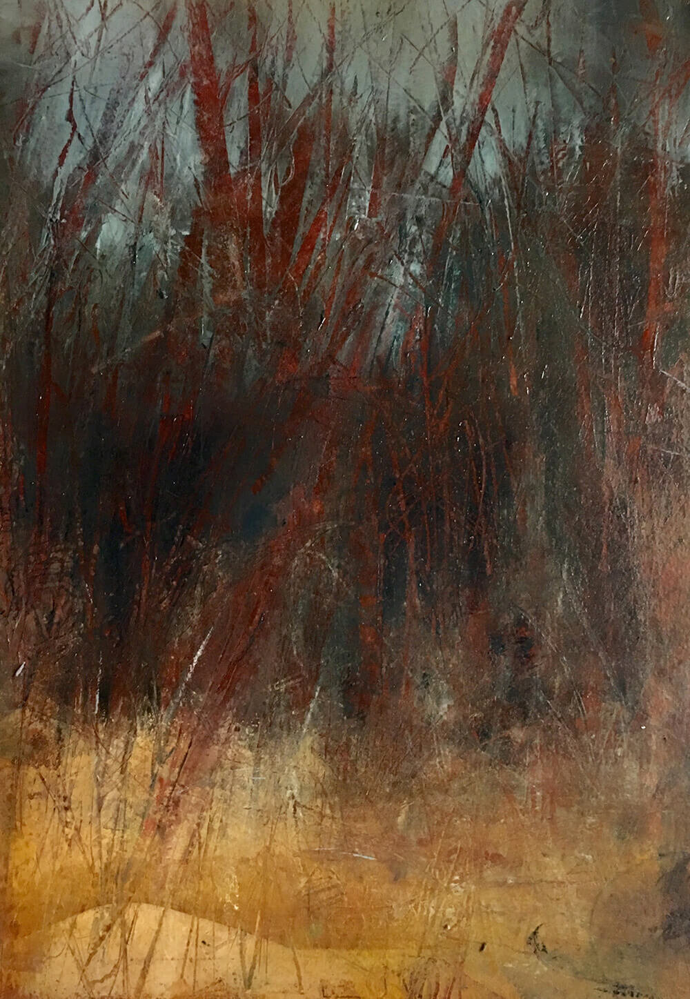 Donna Bolam,  Spring Into March,  2018, coldwax & oil on Arches paper