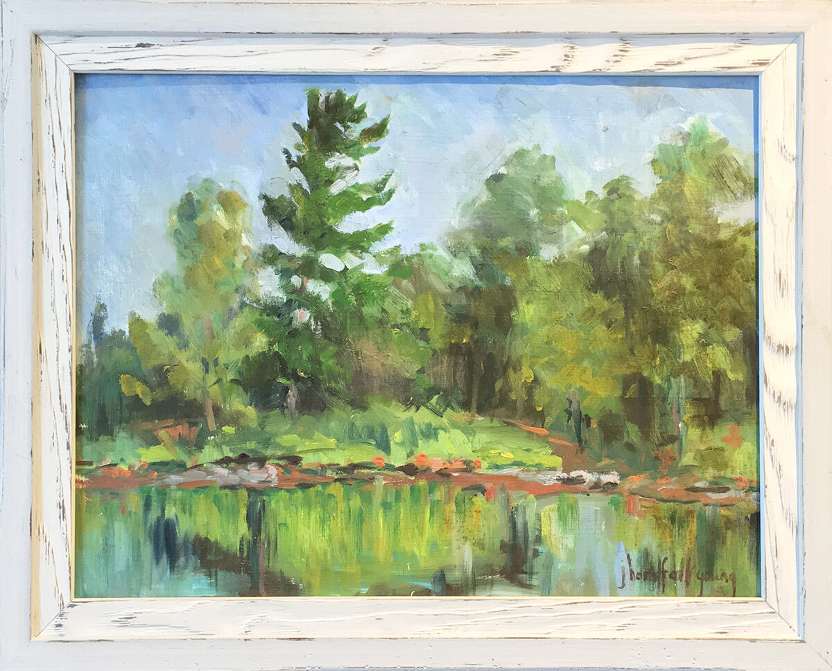 Joan Horsfall Young,  Pine Trees at the Water's Edge , oil on masonite, 12 x 16 inches