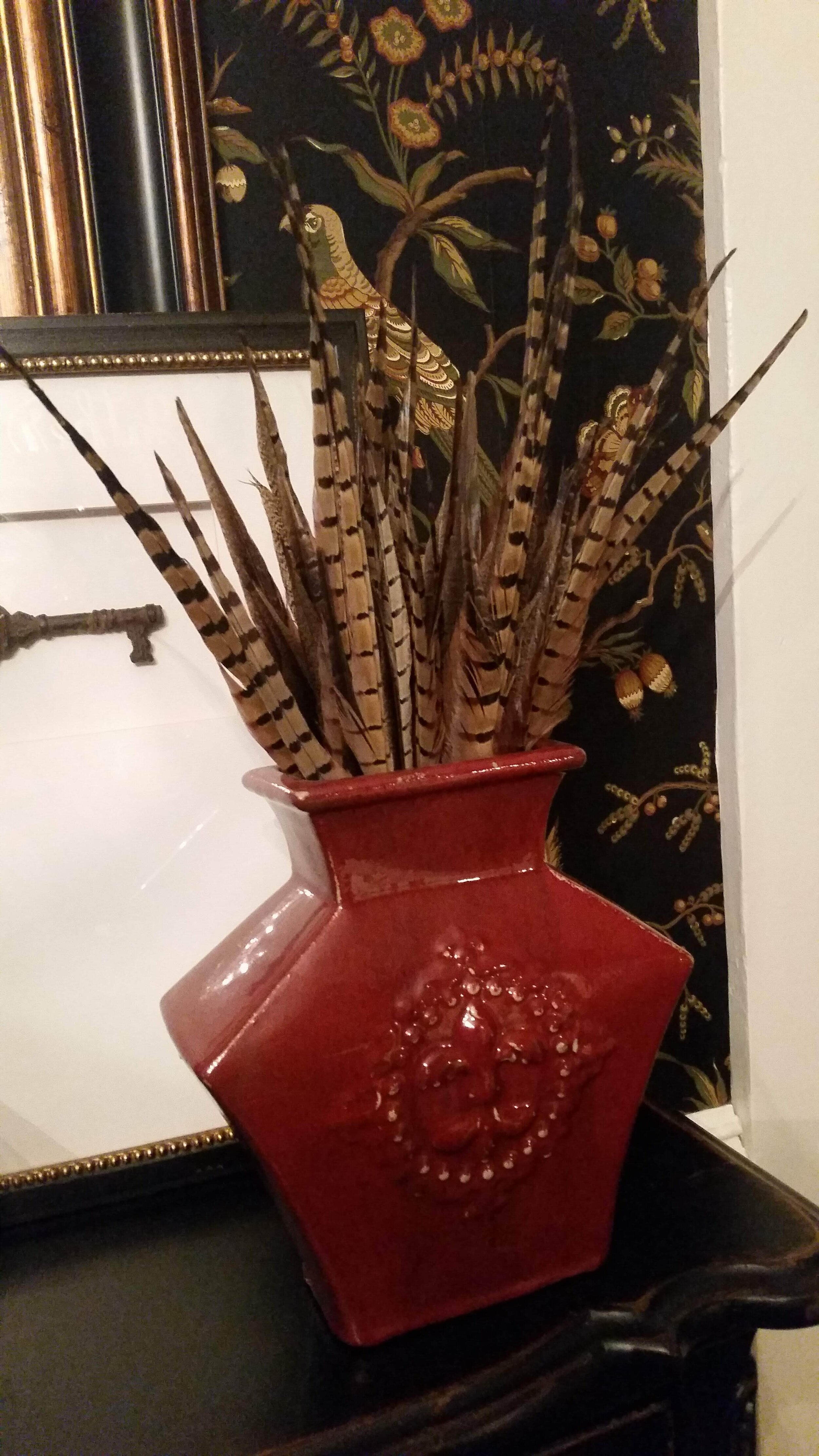 Lori finds that pheasant feathers add a great texture for fall!