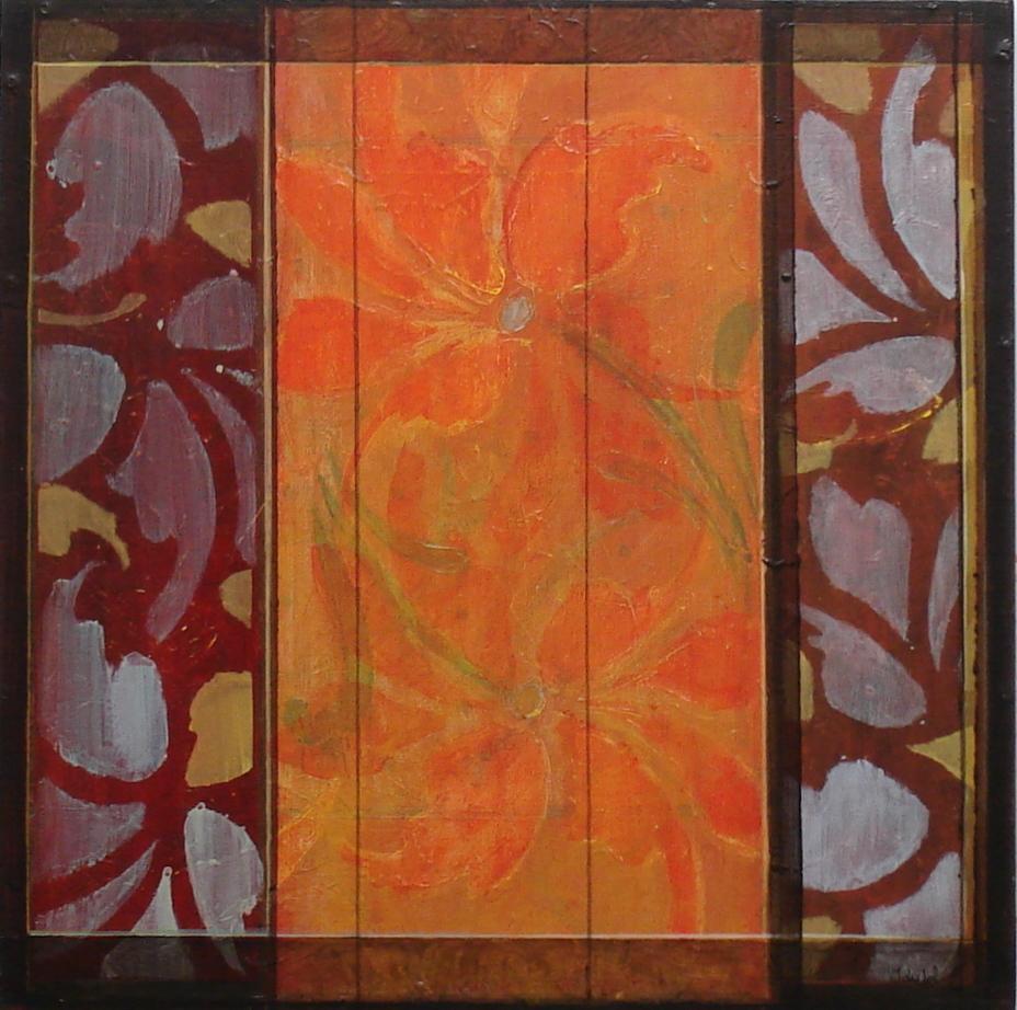 Som glasmaler_ akryl på plate_40x40cm_2006. Kjøpt av Statens Kartverk.