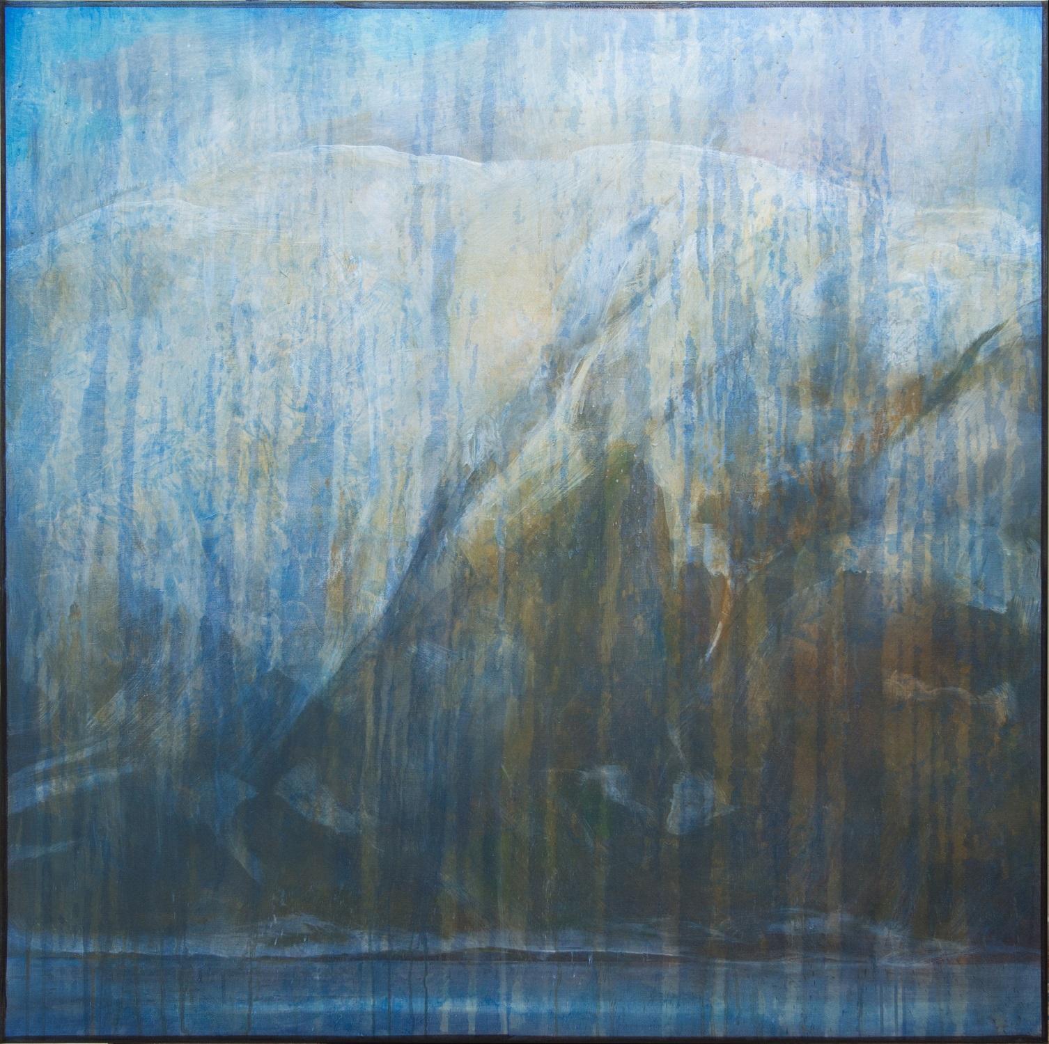 Blått landskap_akryl på lin_120 x120 cm_Foto: Harald Hognerud