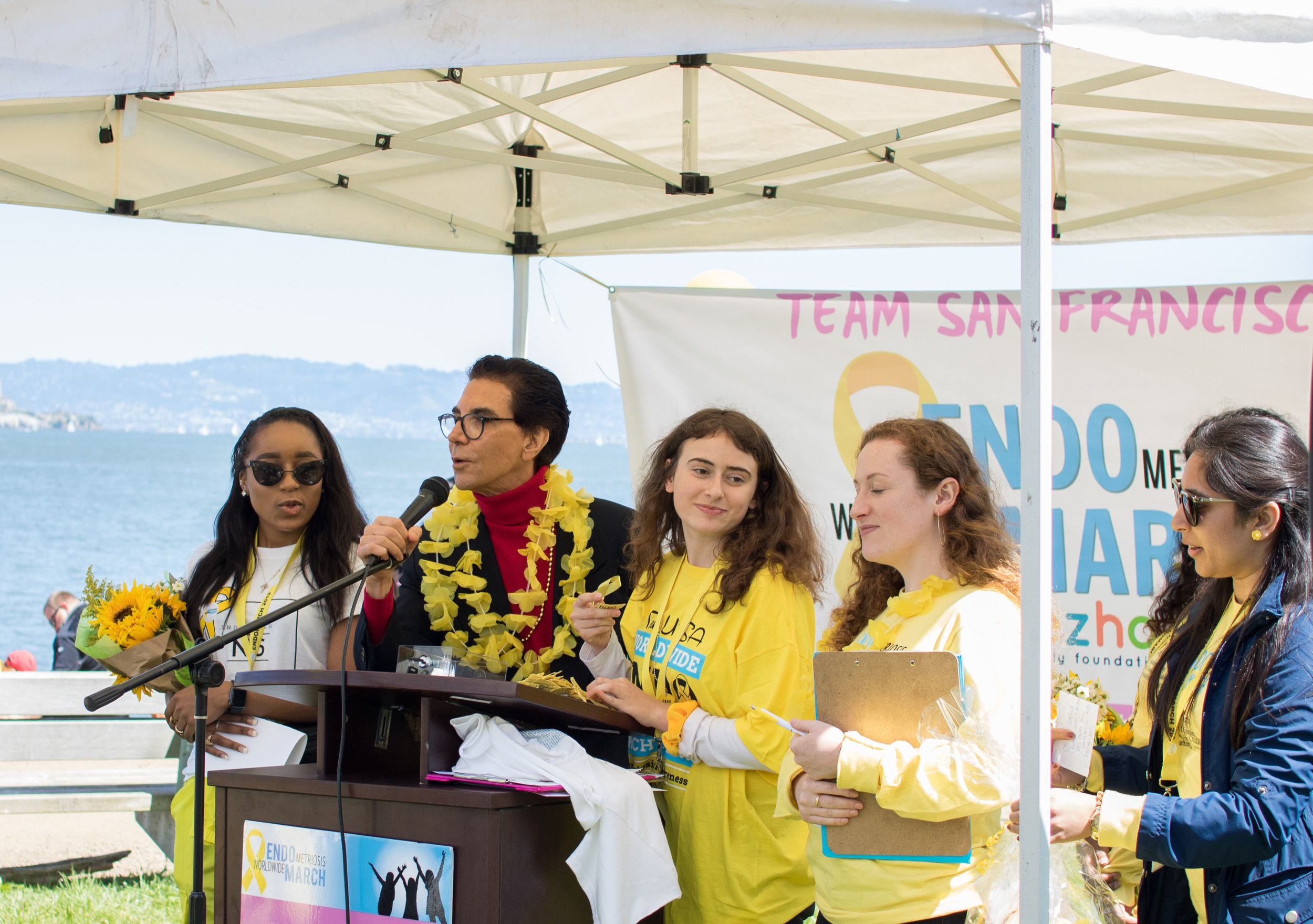 Picture above (L TO R): award recipients Shayla moore, Dr. Camran nezhat, Erica Mark, Jayne skinner, pavithra margaband, and komal saini, shown in their roles as co-directors of the 2019 san francisco endomarch.