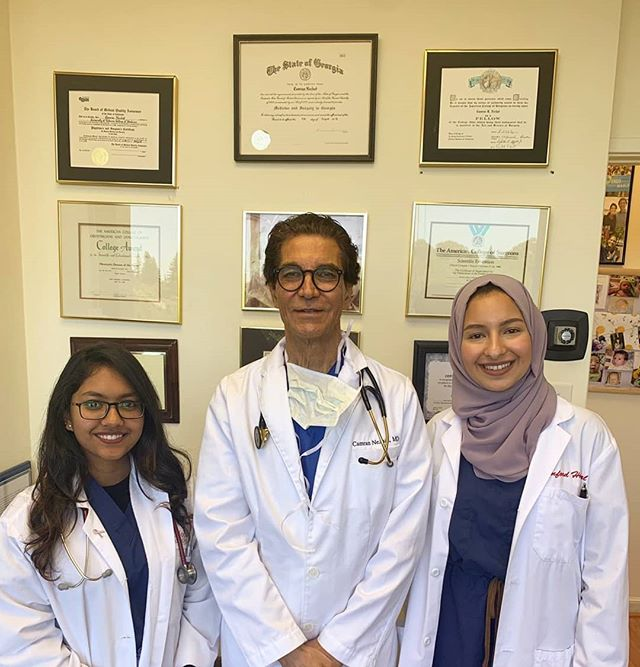 """During our summer mentorship we have seen the most advanced and unusual extragenital endometriosis involving many organs including the bowel, bladder, ureter, diaphragm, pelvic side wall, nerves etc  It is amazing what we have seen and how these patients are happy after the surgery.  They come from all over the world; for example, today we had two patients from LA, one from Ireland and one from Canada.  We have seen the most difficult surgeries done and patients being able to go home 2 hours later.  Minimally invasive surgery has redefined finesse and that's with a special thanks to Prof. Camran Nezhat, who invented and pioneered the technique of laproscopic video surgery. His thoroughness, kindness and passion make him an ideal mentor. It is our honor to be shadowing him this summer. Our lives have been changed forever!  Thank you to World Wide Endomarch for sponsoring this summer mentorship."" - HedaietAllah Ghanem & Hemica Hasan, MBRU medical students from Dubai, UAE."