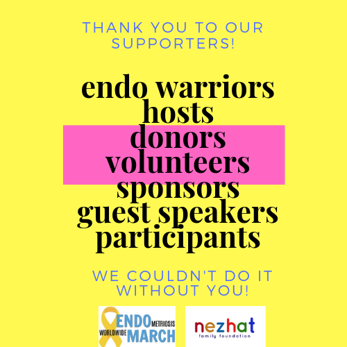 Don't see your name? - If your or your company's name is not showing on the video slideshow above, just send us a note to info@endomarch.org, and we'll be sure to get you added as soon as possible!