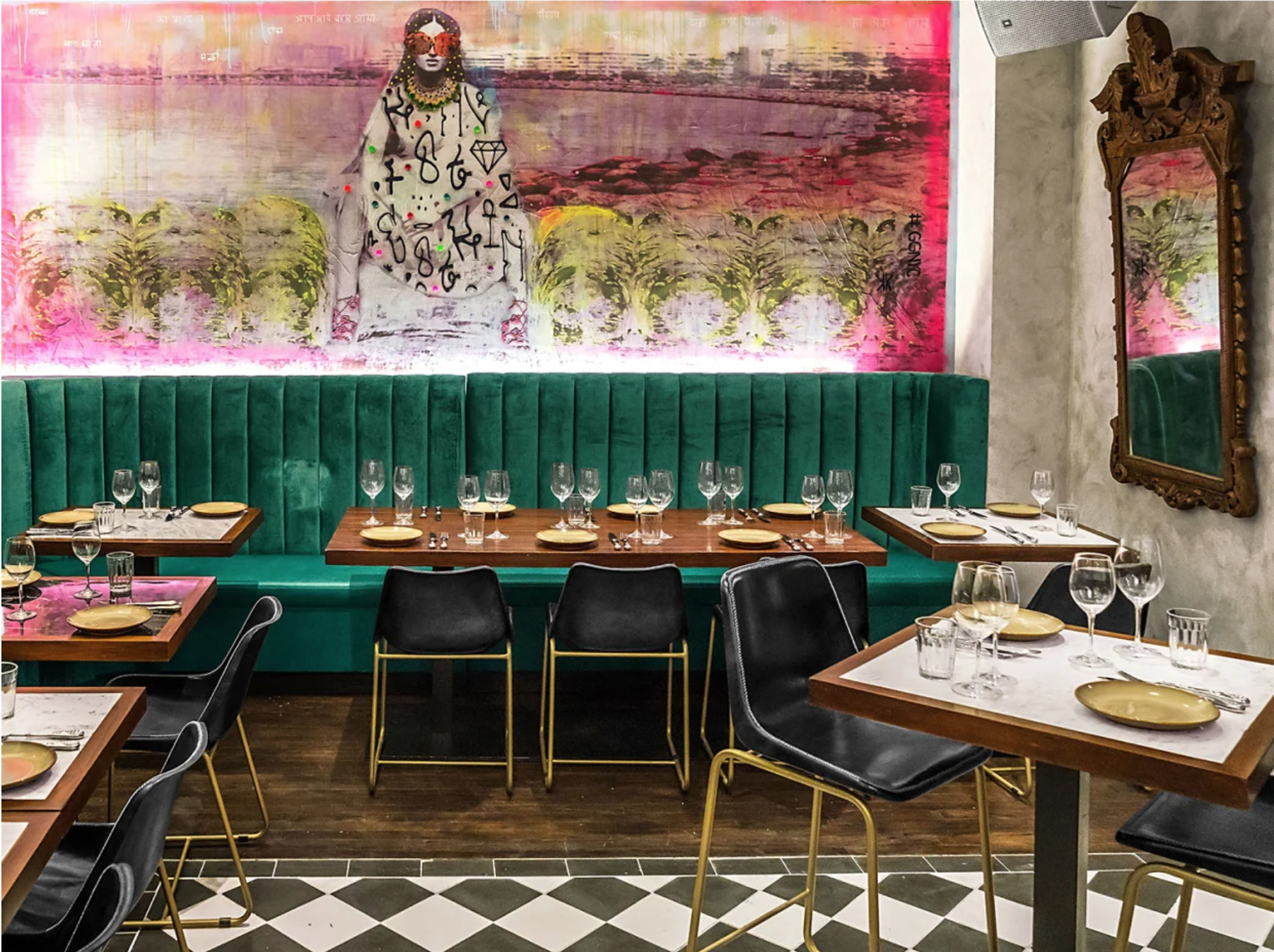 """Mural at GupShupNew York City, 2019 - Featured by Rachel Ray Every Day""""It's a little Bombay in the middle of the Gramercy Park neighborhood."""" (READ MORE)"""