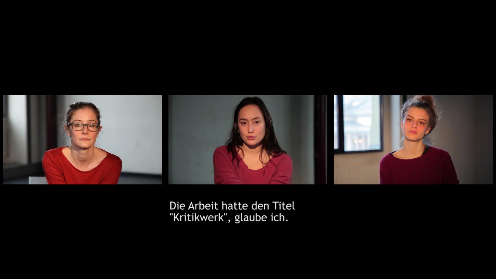 Video installation, 13min. In collaboration with  Anna Königshofer . In French, English/German subtitles. Performer: Éléonore Chalié, Marie Cornil, Anne-Lisa Tacheron.