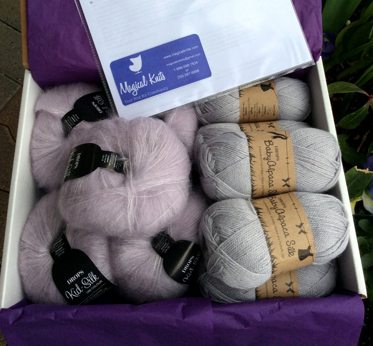 - A Magical Knit Kit consists of a hand picked knitting pattern paired with a matching selection of quality yarns, sufficient for the project. For peace of mind you may add knitting needles and notions as suggested. All nicely wrapped and ready to start your project - at home, on the beach, on the boat, ...