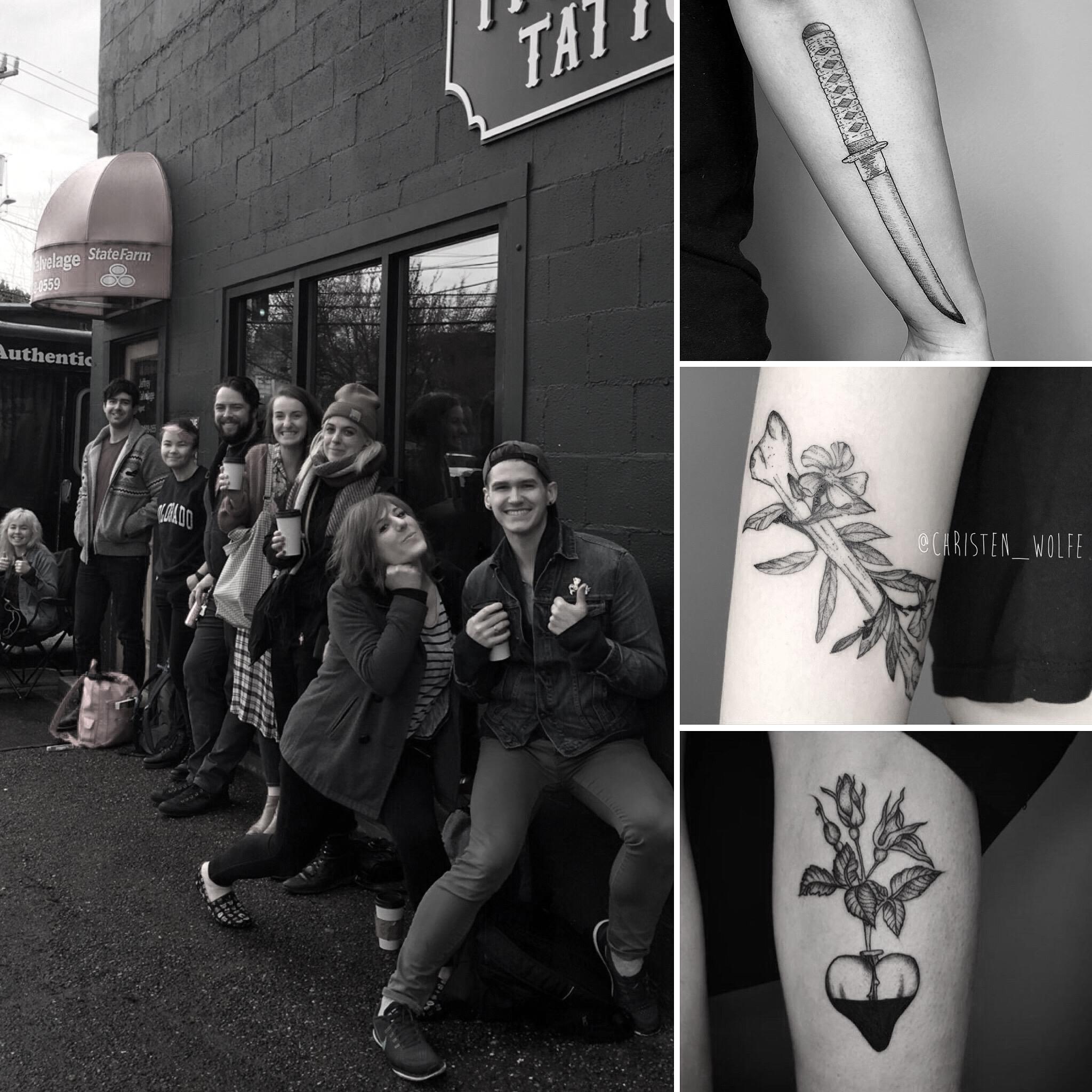Tattoos by Florian Hirnack (Berlin), Christen Wolfe and Rita von Lehe