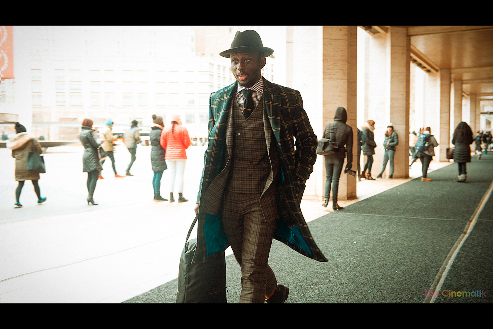 Male fashion blogger Steven Onoja cinematic photograph at New York Fashion Week by Kamal Lahmadi
