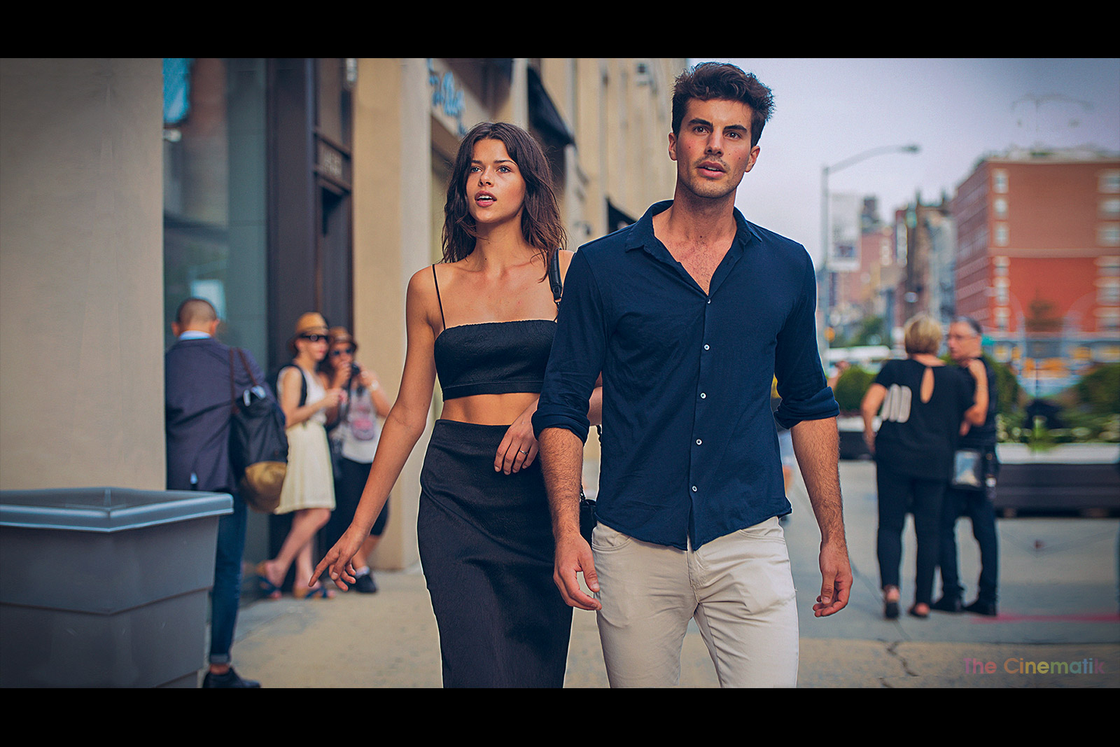 Beautiful model couple cinematic photograph at New York Fashion Week by Kamal Lahmadi