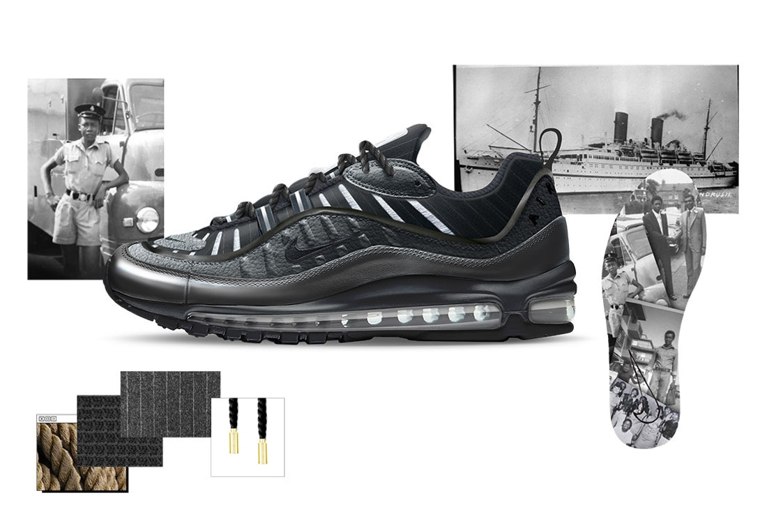 """Air Max 98 """"Ode to Layou"""" by Reuben Charters-Bastide"""