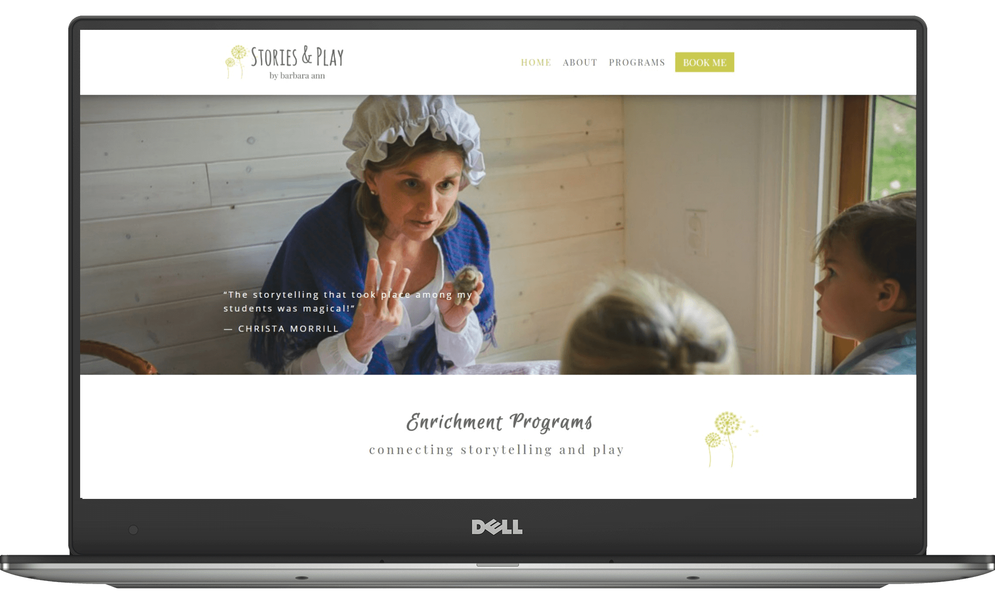 Stories and Play website designed by Deb Mantel Design