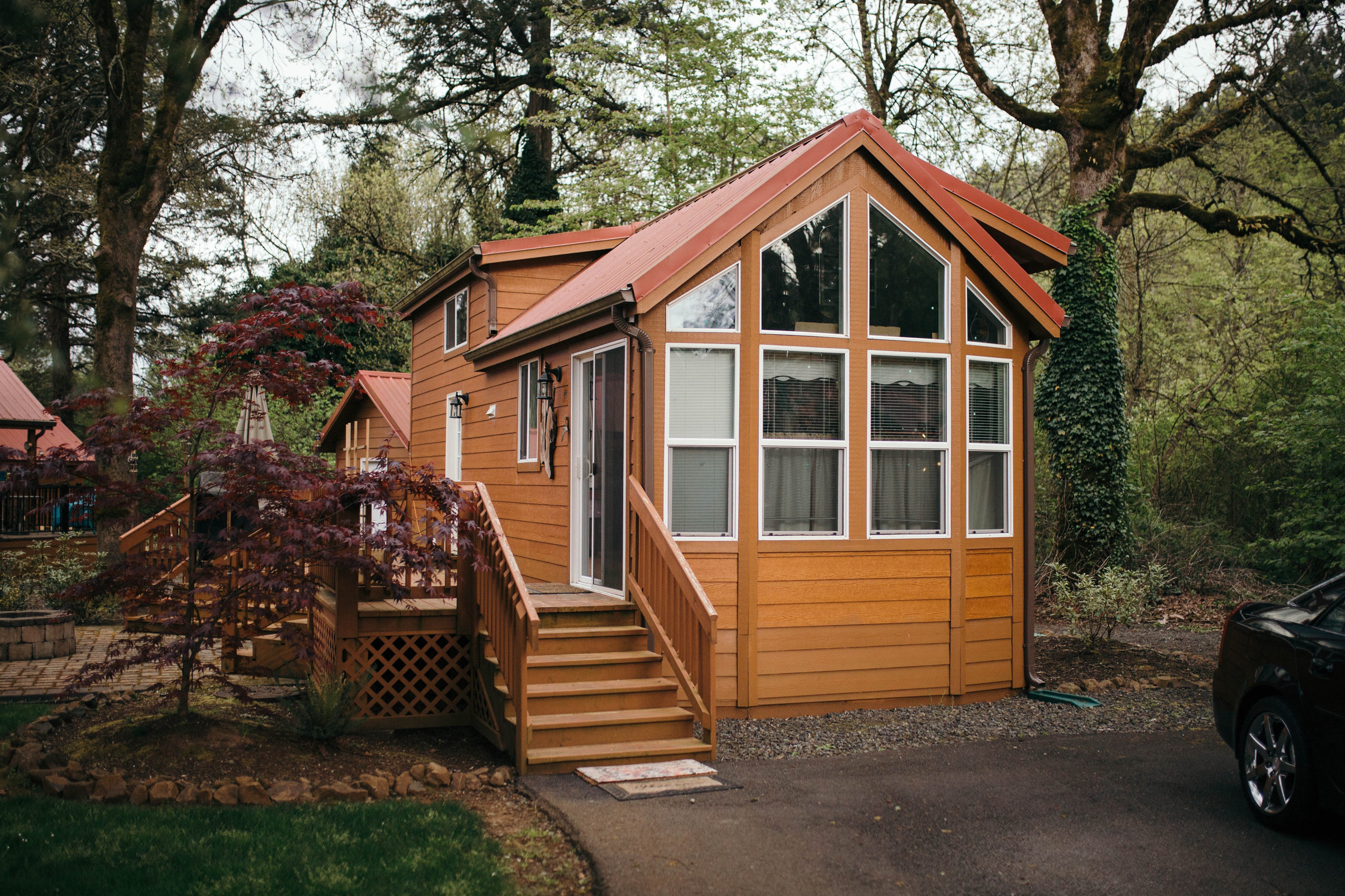 Tiny Homes by Hope Valley Resort with Trees Around