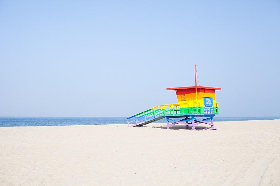 venice beach raibow lifeguard tower