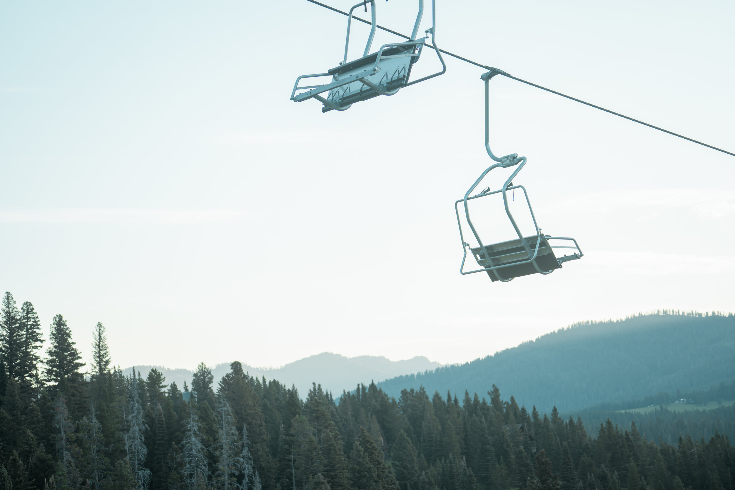 Chairlifts at Bridger Bowl just north of Bozeman, Montana.