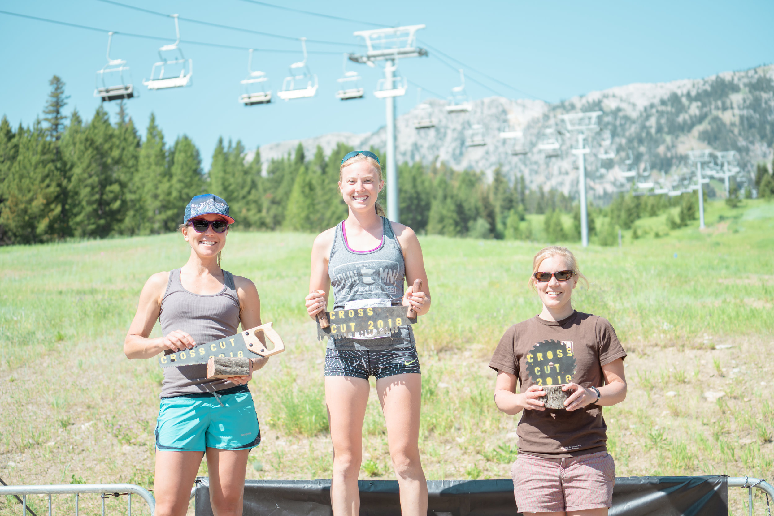Runners getting their reward at Bozeman Running Co. racing of Crosscuts at Bridger Bowl just north of Bozeman, Montana.