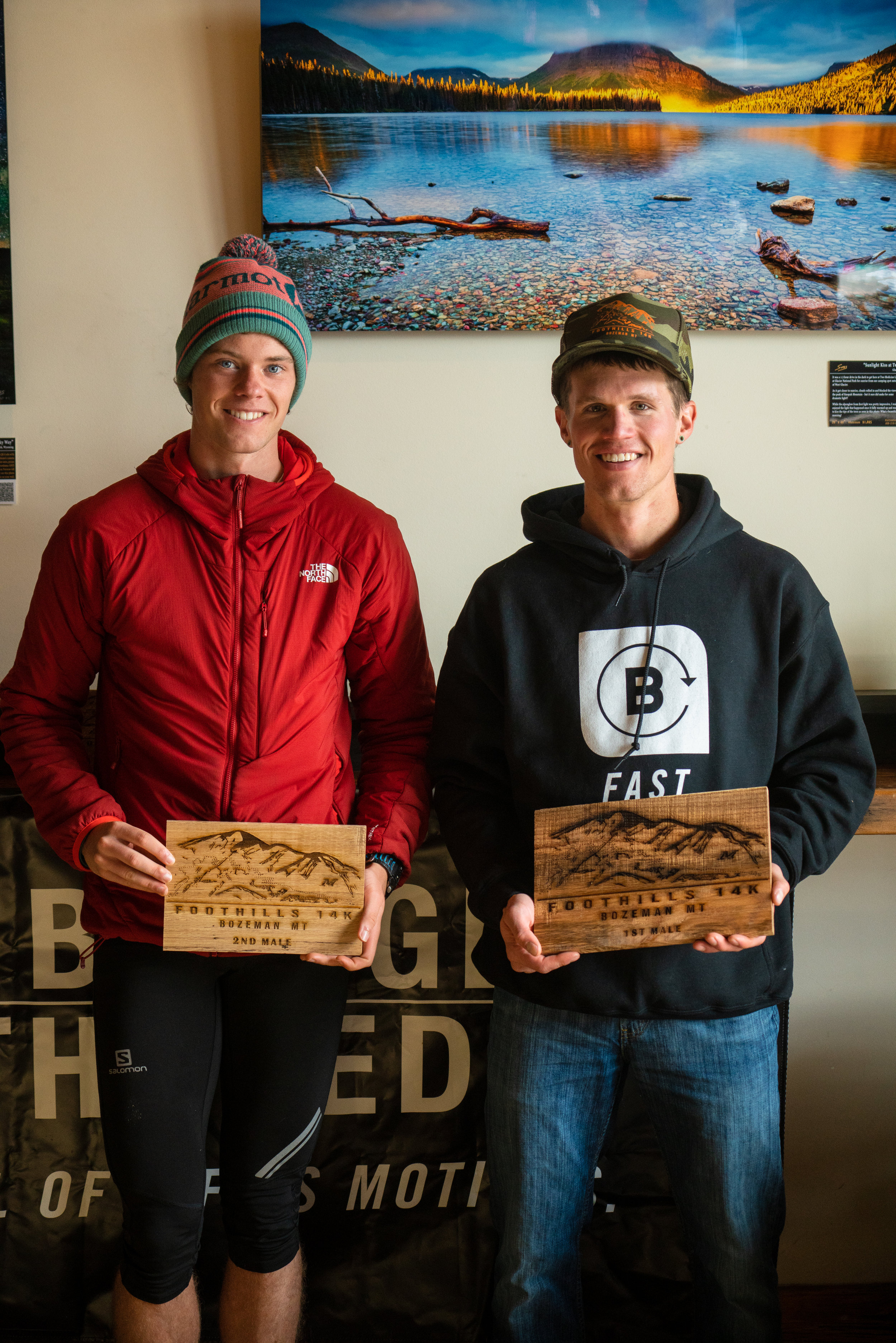 Awards after Bozeman Running Co. racing of the Foothills 14k up Sypes Canyon.