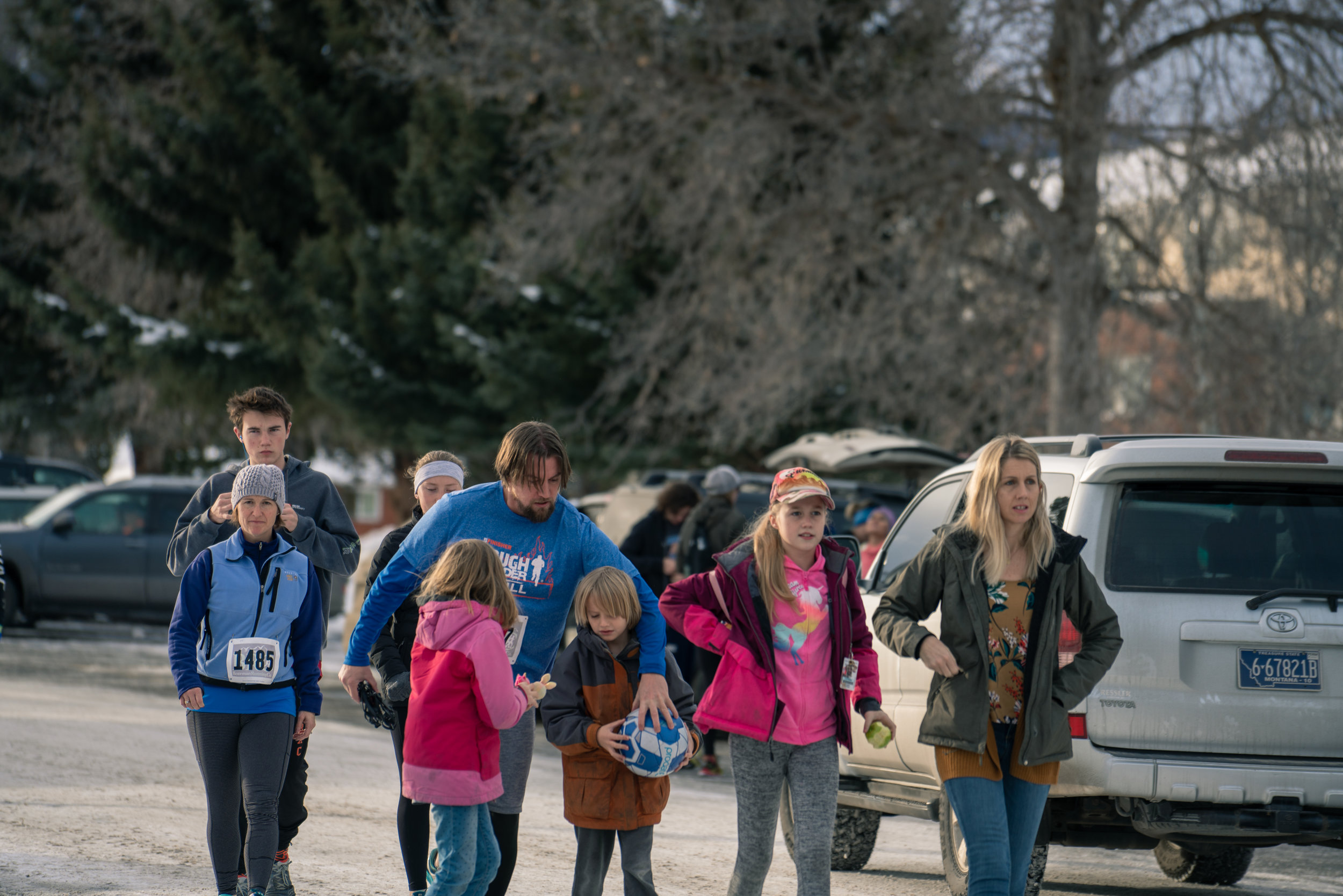 A family get ready to run together before Bozeman Running Co.'s racing of the Bear near Bozeman, Montana.