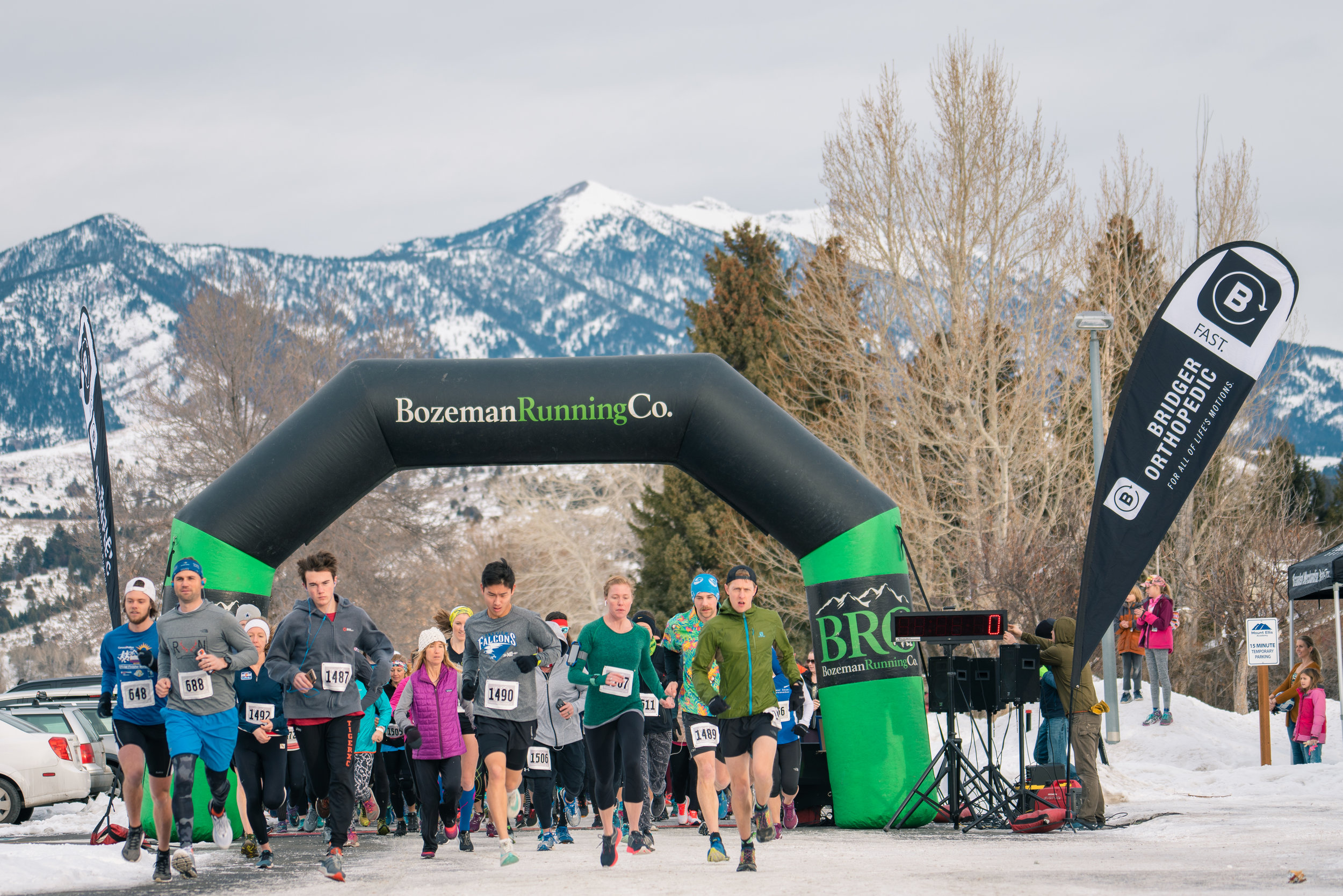 The start of Bozeman Running Co.'s racing of the Bear near Bozeman, Montana.