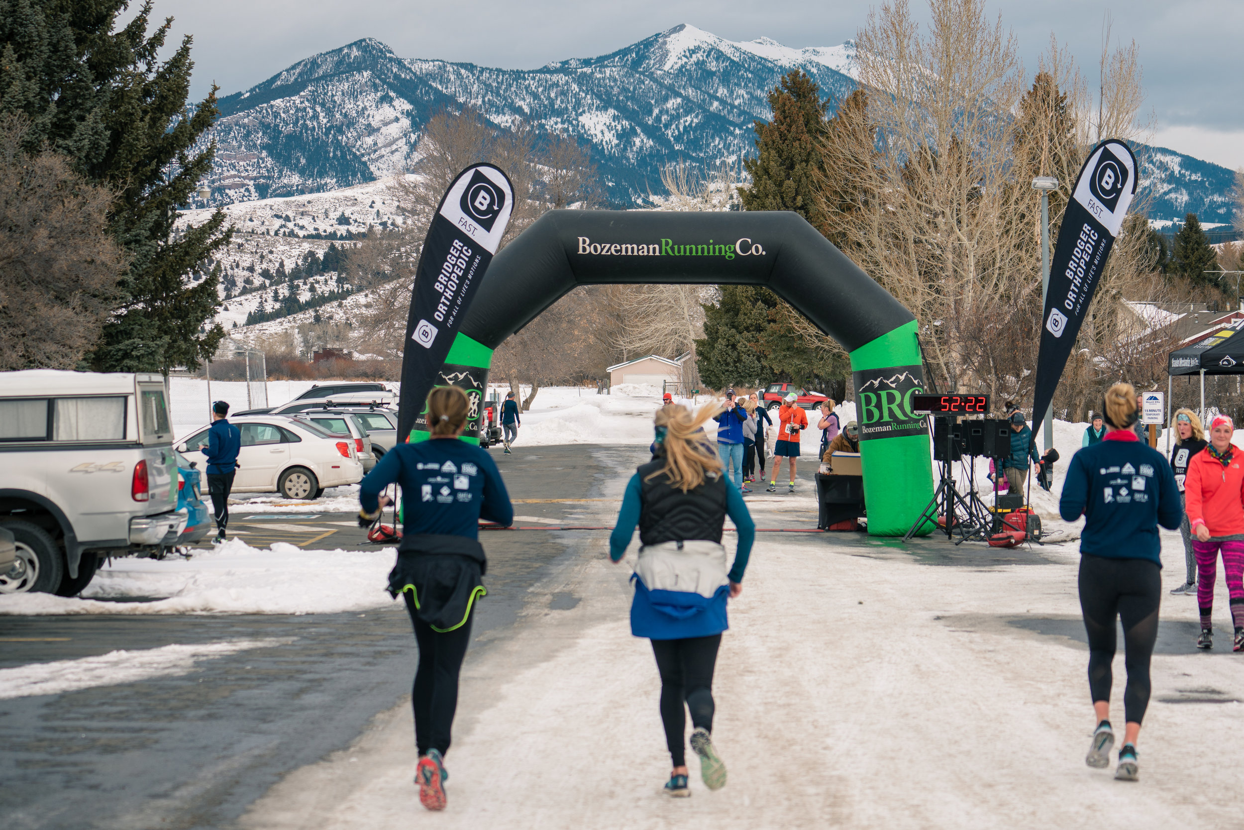 Approaching the finish line during Bozeman Running Co.'s racing of the Bear near Bozeman, Montana.