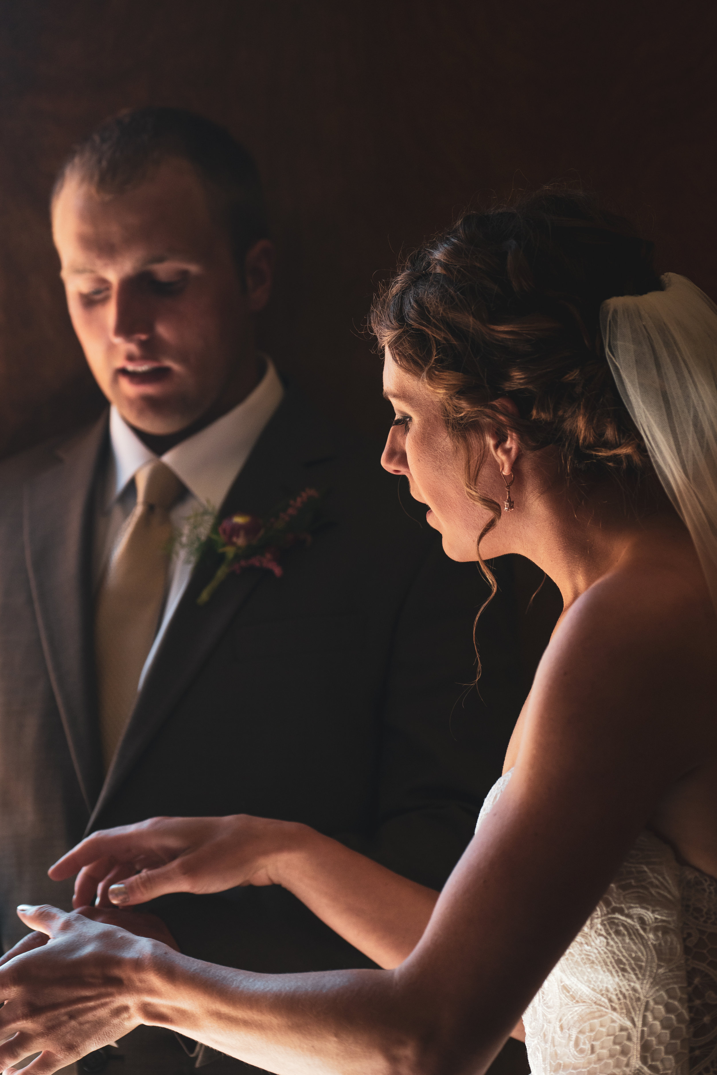 The bride and groom before their wedding in Lewistown, Montana.