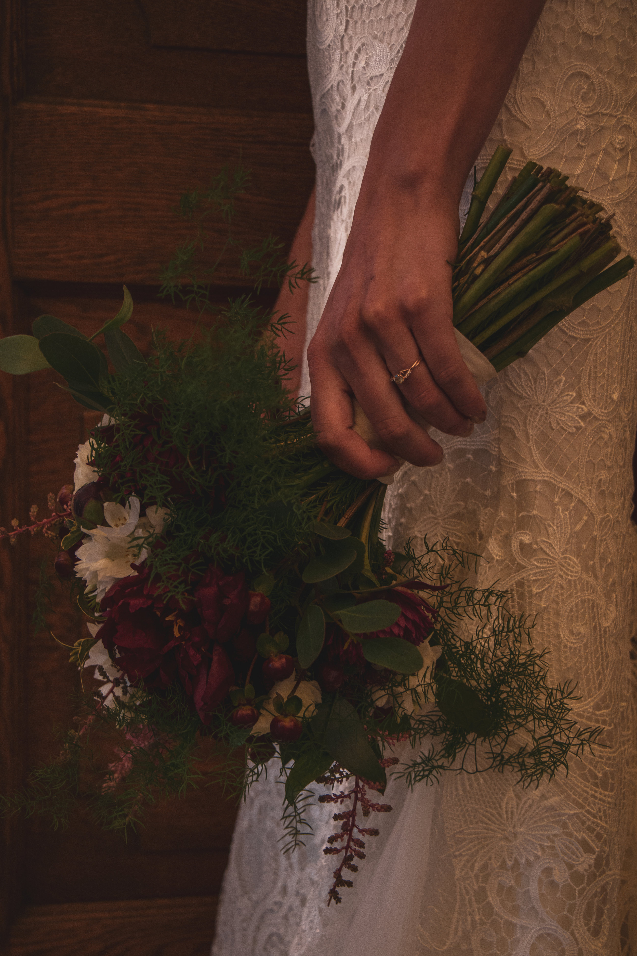 The bridge holding flowers after her wedding in Lewistown, Montana