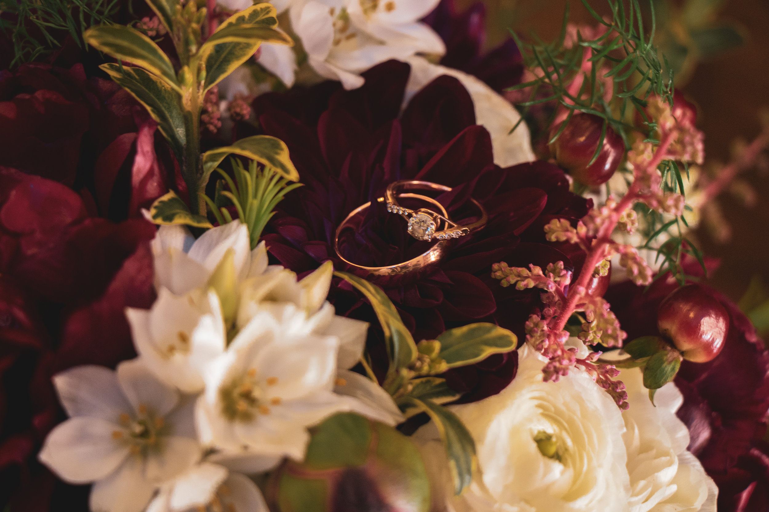 Wedding rings in flowers after a ceremony in Lewistown, Montana